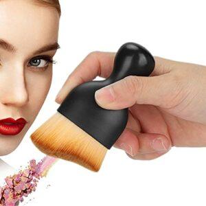 Pinceau de maquillage de fond de teint, pinceau de fond de teint professionnel polyvalent de conception incurvée portable ergonomique pour fond de teint liquide pour crème liquide(marron, bleu)