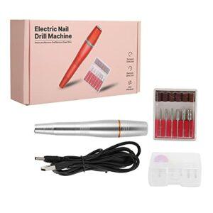 Ponceuse à ongles, perceuse à ongles électrique USB portable pratique de 18 000 à 20 000 tr/min pour les salons pour les familles(Argent, Type de tour penchée de Pise)