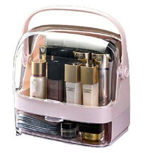 QNDYDB Organisateur de Maquillage, boîtier d'affichage cosmétique avec Couvercle Transparent, Coiffeuse et Support de Soin de la Peau de la Salle de Bain, Anti-poussière et Pink-Second Floor
