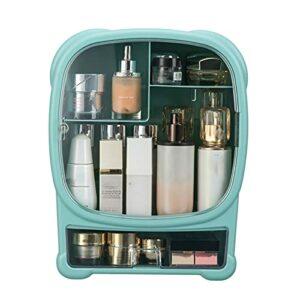 QNDYDB Organisateur de Maquillage, boîtier de boîtier cosmétique avec Couvercle Transparent, Coiffeuse et Support de Soin de la Peau de la Salle de Bain, Anti-poussière et Green