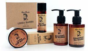 Renèe blanche – Kit de soin pour barbe et moustache – Coffret tout en un : cire pour moustache, huile pour barbe, baume pour barbe et shampooing pour barbe