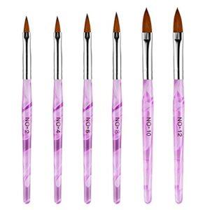 Richolyn 6pièces Ensemble De Pinceaux À Ongles, Nail Art Design Pinceaux, Pinceau Nail Art pour Gel UV Et Acrylique, pour Nail Art Set Complet De Peinture Dessin Ligne Cheveux Outil De Manucure
