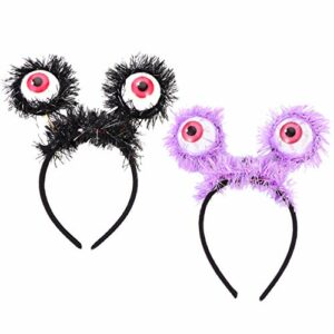 rosenice 4 Pièces Halloween LED Hoop Globe Oculaire Boppers LED Clignotant Yeux Bandeaux Sanglante Globe Oculaire Décor Bandeau Cosplay Partie Bandeaux Lumineux Hairband