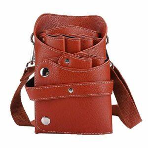 Sac de rangement, sac de taille, sac de taille de ciseaux de coiffeur portable, outil de coiffure de peigne de tondeuse à cheveux(marron)