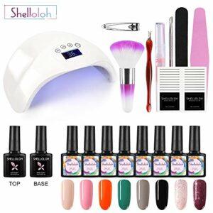 Shelloloh Lot de 8 vernis à ongles semi-permanents en gel Soak Off 10 ml 48 W UV Nail Dryer