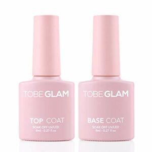TOBEGLAM 2pcs top coat and base coat ensemble semi-permanents brilliant gel uv vernis à ongles gels couche de base et top coat finition multi-usages