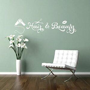 TopZog Citation pour cheveux et beauté avec sèche-cheveux, imprimé lèvres, tourbillons, autocollant mural pour la beauté, salon de coiffure, blanc, 75 x 18 cm