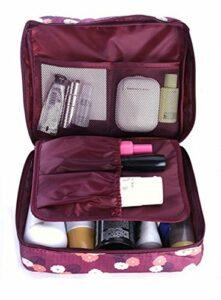 Traveling Multi-Bag Sac de voyage/de bain/de finition/de soins infirmiers/Trousse de maquillage/Sac multifonctionnel de rangement pour femmes et hommes (Fleurs rouges foncées)