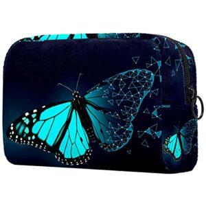 Trousse De Toilette De Voyage Papillon De Ciel Bleu Organisateur Portable Professionnel Sac De Maquillage Cosmétique Organisateur Boîtes De Maquillage 18.5X7.5X13Cm