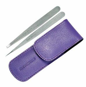 Tweezerman – Professional Petite Tweeze Set: Slant Tweezer + Point Tweezer – (With Lavendar Leather Case) – – Maquillage