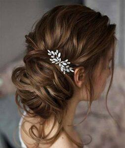 Unicra Peigne à cheveux argenté pour mariée – Cristal opale – Strass – Accessoire pour cheveux de mariée – Pour femme et fille