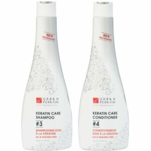 Urban Keratin Kit Duo   Shampoing Sans Sulfate   Kit Shampooing et Soin à la Kératine   Shampooing et Conditioner Lissage Brésilien (400ml x2)   Made In France