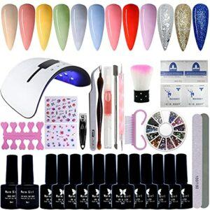 Warm Girl Kit de démarrage de vernis à ongles gel avec lampe UV/LED 36 W, 12 couleurs de vernis à ongles gel avec base de finition, kit de vernis à ongles gel soak off