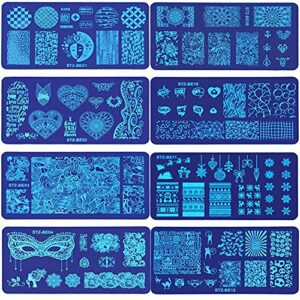 WUYOO Lot de 8 pochoirs de stamping pour nail art, décoration d'ongles, plaque en acier, attrape-rêves, flocon de neige, collier pétale constellation