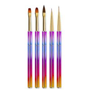 WZHrb 5PCS Set de pinceau de doublure de ongles UV Gel Acrylique Nail Art Brosse Stylos Dessin de peinture pour la maison, Salon