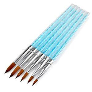WZHrb 6PCS Brosse à ongles Ensemble pour applications acryliques Nails Brosses Pen peinture Pen-Stylo Constructeur et clou