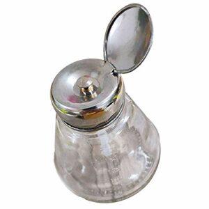 Yuyanshop Flacon distributeur de vernis à ongles multifonction 150 ml avec pompe en verre pour démaquiller les yeux et les lèvres, bouchon argenté