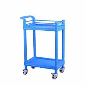 ZGQA-GQA Beauté Trolley-Double Salon panier Chariot Hôpital Nail panier outil panier Mobile Bleu pratique (Taille: 54 * 37 * 90cm)