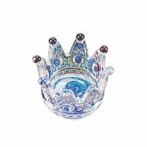 1 coupelle à ongles 2 en 1 en forme de couronne en cristal pour nail art, mini pot à ongles en verre pour acrylique, poudre liquide