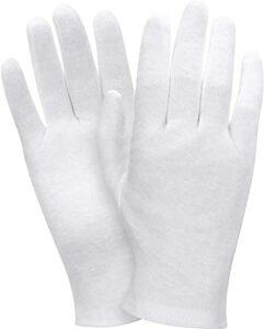 2 paires de gants de coton blanc Gants hydratants Gants de soin de la peau élastique doux Gants de travail pour femmes sèches mains bijoux Inspection et plus, une taille convient à la plupart mitaines