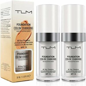 2 PCS couleur sans faille changeante ton chaud peau teint, base de maquillage correcteur de couverture liquide visage nude (2 Pcs Foundation)