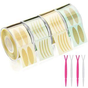 4 Rouleaux de Bande de Maquillage Double Paupière Autocollantes Respirantes Autocollants de Yeux Adhésifs Invisibles Autocollant Étanche à Double Paupière et 4 Tiges de Fourche