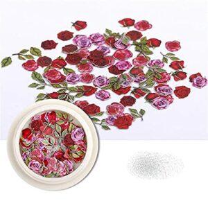 50 pièces/boîte 3D motif papillon coloré Laser ongles flocons paillettes miroir brillant Paillette fleur Nail Art décoration bricolage manucure-Style 3-02