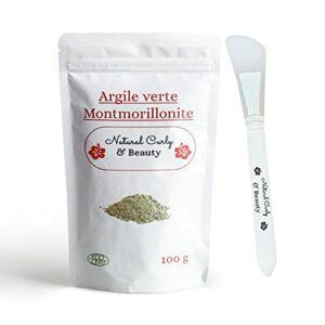 Argile verte montmorillonite avec pinceau applicateur en silicone – Nettoie les pores en profondeur, hydrate et adoucie la peau – Détoxifie et redonne de la fraîcheur à toutes les chevelures