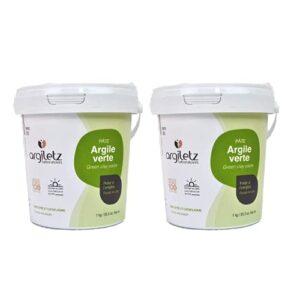 ARGILETZ- Lot de 2 Pots d'argile verte 1kg – pâte prête à l'emploi – DISTRIBUE PAR ARCILIA – ARGILE SECHEE AU SOLEIL ARGILETZ – CATAPLASME, EMPLATRE, MASQUE SOIN BEAUTE VISAGE, CHEVEUX…