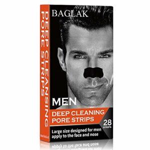 BAGLAK Hommes Bandes Pores Points Noirs, (28 Strips), charbon de bambou, nettoyage en profondeur pour tous les types de peau, grande taille pour le nez et le visage
