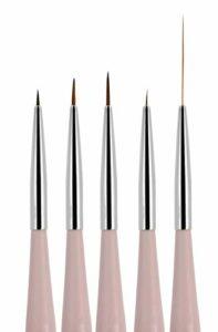 Beaute Galleria Lot de 5 pinceaux pour nail art (4 mm, 7 mm, 9 mm) et pinceaux à rayures (5 mm 25 mm) pour décaper les détails de la ligne fine, estomper les poils en nylon et acrylique.