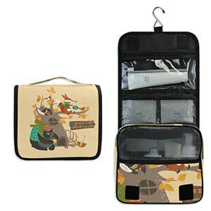 Bébé Renard Animal De La Forêt Trousse de Toilette à Suspendre Rangement MaquillageSac Voyage Portable Pliable Salle de Bain Trousse de Cosmétique pour Femmes Filles