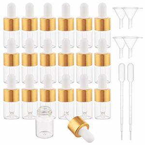 BENECREAT 30 Pack 5ml Flacon Compte-Gouttes en Verre Transparent Bouteilles d'huile Essentielle pour Les Yeux avec Bouchons dorés, trémie à Entonnoir 4PCS et pipettes 2PCS pour parfums