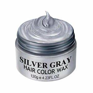 Cire de couleur de cheveux gris, couleur de cheveux semi-permanente, cire de teinture pour les cheveux, cire de coiffage temporaire, cire de couleur de cheveux hommes femmes, pour fête, festival, cosp
