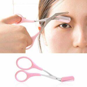 Ciseaux à sourcils de peigne de précision professionnelle avec poignées antidérapantes pour le peigne et la sculpture des doigts