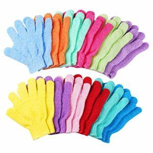 CVNDKN Lot de 12 paires de gants de douche exfoliants double face pour le bain et le massage des peaux mortes pour spa, massage, beauté, douche, gommage – 12 couleurs