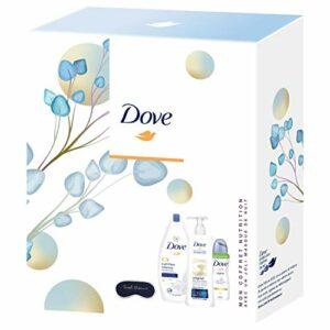 Dove Coffret Nutrition avec un joli masque de nuit, Gel Douche nutrition, Lait pour le Corps & Déodorant Spray original, Nutrition et hydratation intense, Idée cadeau, idéal à offrir x1