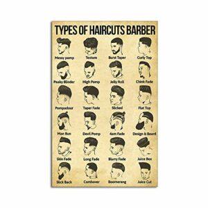 Dreacoss Poster vertical pour barbier, coiffure, barbe, technicien de beauté, coiffeur, cadeau de barbier, décoration murale sans cadre 20 x 25 cm