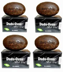 Dudu-Osun – 4x150g BIO, scellé hygiéniquement et emballé individuellement – Savon noir CLASSIQUE | Savon noir africain | Savon de camping, douche, rasage et visage | Shea & Aloe Vera [total:600g]
