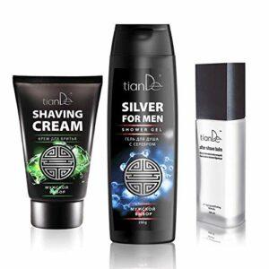 Ensemble de produits puissants pour hommes, gel douche argent, crème à raser, baume après-rasage, tianDe