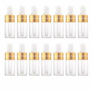Enslz Lot de 15 flacons compte-gouttes vides rechargeables en verre transparent pour huiles essentielles, parfum, cosmétique, liquide,distributeur de compte-gouttes pour les yeux (3 ml, doré)