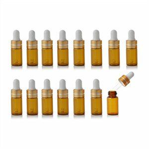 Enslz Lot de 15 mini flacons en verre ambré rechargeables pour huiles essentielles, parfums, échantillons de maquillage avec bouchon à vis doré (3 ml)