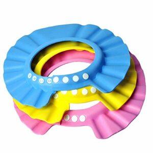 EQLEF Visière de Bain de Bébé Bonnet de Douche Anti Shampoing pour Les Soins de Bébé et Enfants-3 Pièces(Rose, Jaune, Bleu)