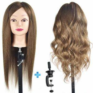 ErSiMan Tête de mannequin de cosmétologie pour femme 100% cheveux humains 50,8cm, tête de mannequin pour coiffure, tête de poupée avec pince