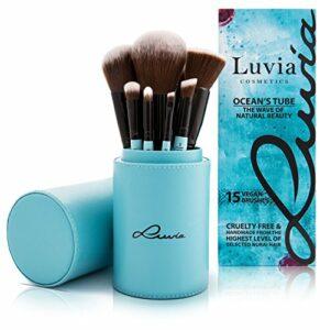 EXCLUSIF : Pinceaux Professionnel de Maquillage « Ocean's Tube » – Kit de 15 pièces avec Boîte de LUVIA COSMETICS – Inclus dans le set des pinceaux pour cils et sourcils – Cadeau Parfait pour Elle (Végan/Pas de test sur les animaux)