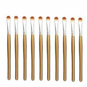 Exquis et beau 10pcs / sac, 5 sacs en 1 paquet, 50pcs professionnel pinceau fard à joues pinceau yeux multifonctions maquillage pinceaux Pinceau pour les yeux (Color : Brown Silver)