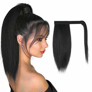 FESHFEN Extension Queue de Cheval Cheveux Naturel, 30 cm Longue Ponytail Cheveux Postiche Synthétique Rajout Cheveux Queue de Cheval Long Wrap Around Ponytail Extension