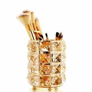 GCDN Pot à pinceaux de maquillage avec perles en cristal – Pot à crayons – Seau de rangement (rond, doré)