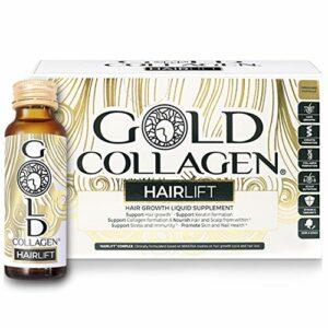 Gold Collagen Hairlift 50 ml | The Original #1 Liquid Collagène pour cheveux | Kératine hydrolysée, collagène, biotine et vitamines pour augmenter la force, la croissance et la réparation des cheveux