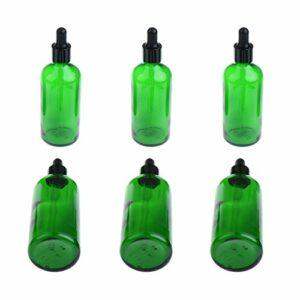 Hellery 6 Flacons De Bouteilles D'huiles Essentielles En Verre Ambre Vide De 100 Ml Avec Compte-gouttes Pour Les Yeux – Vert